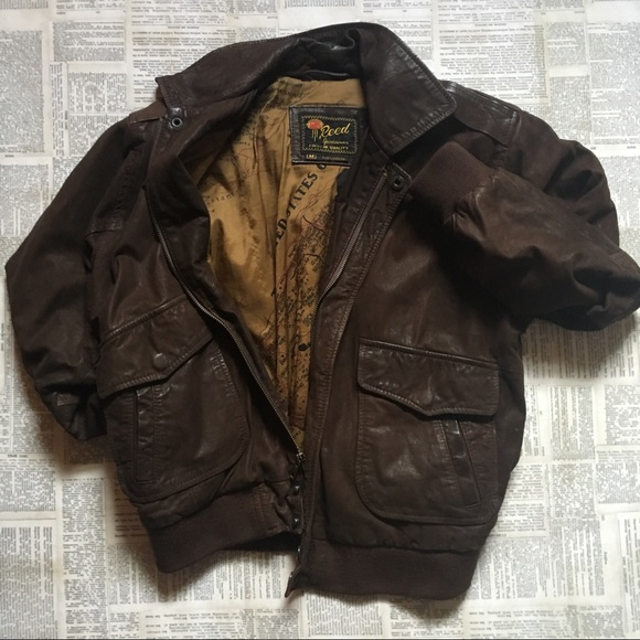 b01c0ce80 Vintage Leather Bomber Jacket with Map Lining